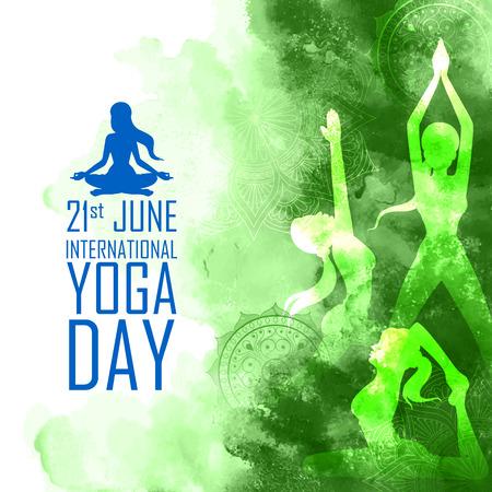 Ilustración de una mujer haciendo asanas para el Día Internacional del Yoga el 21 de junio.