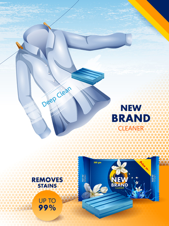 Advertisement banner of stain and dirt remover laundry detergent for clean and fresh cloth