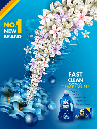 Advertisement banner of stain and dirt remover liquid laundry detergent for clean and fresh cloth
