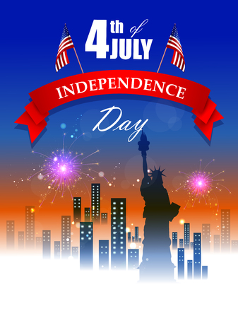 4th July, Independence day of America Illustration