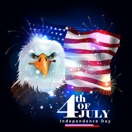 4th of July Independence Day of America background Иллюстрация