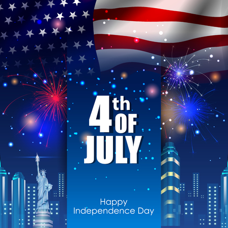 4th July, Independence day of America Stock Illustratie