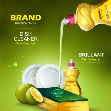 Reclamebanner van sterke vlekverwijderaarvloeistof Vaatwasser voor schoon en fris keukengerei