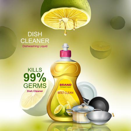 Banner publicitario de lavavajillas líquido quitamanchas resistente para utensilios limpios y frescos Ilustración de vector