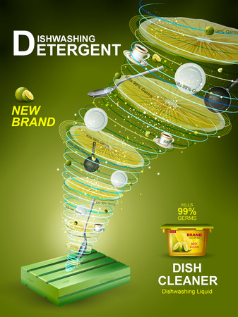 Advertisement banner of tough stain remover Dishwasher for clean and fresh utensil