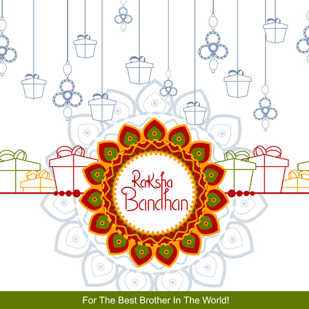 easy to edit vector illustration of Rakhi background for Indian festival Raksha bandhan celebration  イラスト・ベクター素材