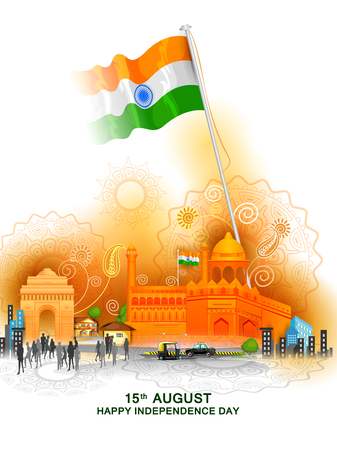 easy to edit vector illustration of Monument and Landmark of India on Indian Independence Day celebration background Иллюстрация