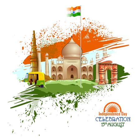 easy to edit vector illustration of Monument and Landmark of India on Indian Independence Day celebration background Ilustração