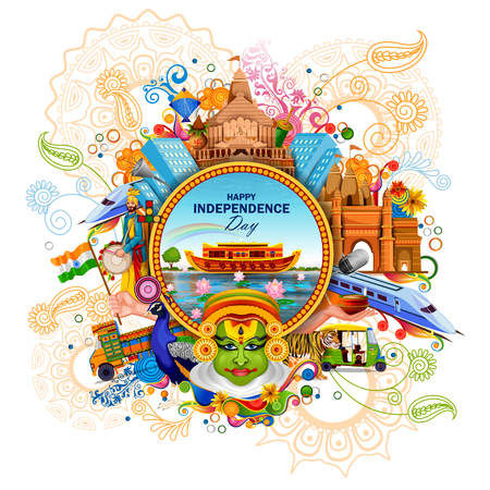 easy to edit vector illustration of Monument and Landmark of India on Indian Independence Day celebration background Ilustração