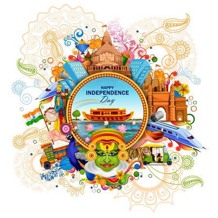 facile à modifier l'illustration vectorielle du monument et monument de l'Inde sur fond de célébration de la fête de l'indépendance indienne