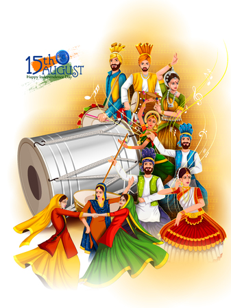 Indian dancer on Happy Independence Day of India background