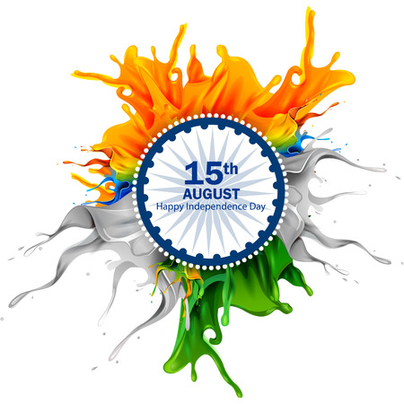 easy to edit vector illustration of splash of Indian Flag on Happy Independence Day of India background Vettoriali