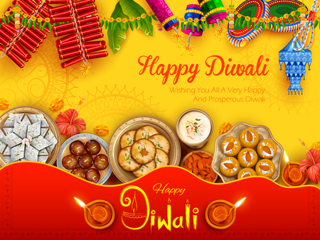 Burning diya with assorted sweet and snack on Happy Diwali Holiday background for light festival of India Иллюстрация