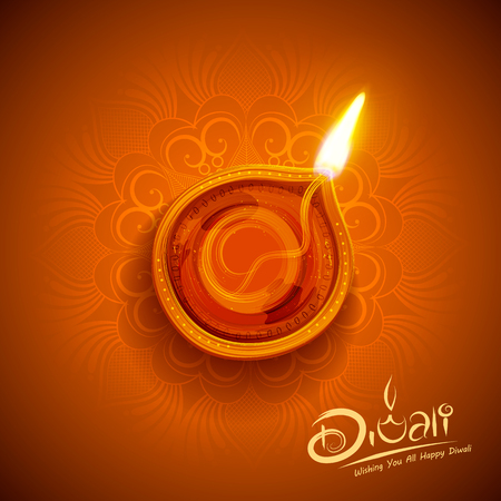인도의 빛 축제를위한 해피 디 왈리 휴일 배경에 불타는 diya