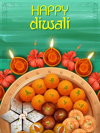Brennende Diya mit verschiedenen süßen und Snack auf Happy Diwali Holiday Hintergrund für Licht Festival von Indien Vektorgrafik