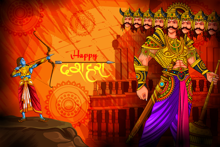 Happy Dussehra background showing festival of India Illustration