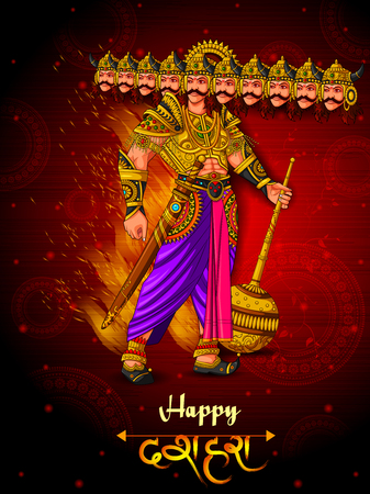 Ravana monster in Happy Dussehra background showing festival of India