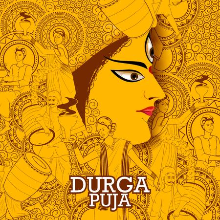 Fondo de vacaciones feliz festival de Durga Puja India