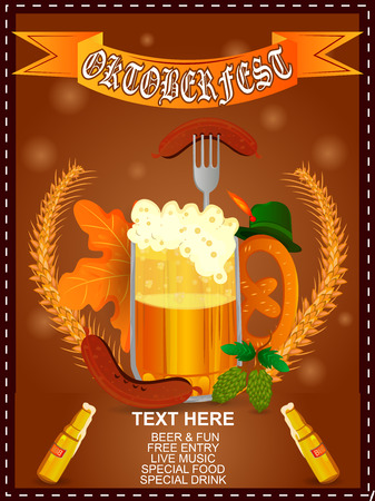 easy to edit vector illustration of Oktoberfest holiday festival greeting background of Germany