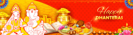 Burning diya on Happy Diwali Dhanteras Holiday background for light festival of India Illustration