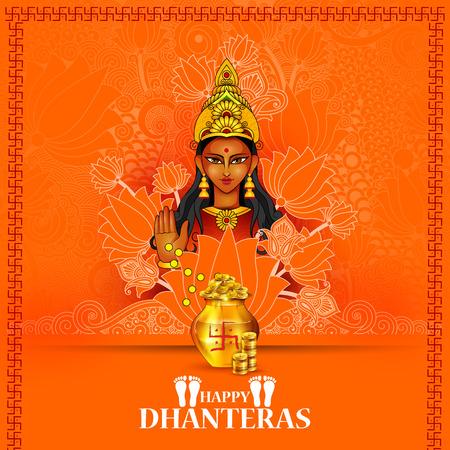 Diosa Lakshmi para Happy Dhanteras Diwali Ilustración de vector