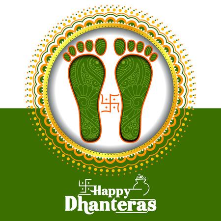 Illustration of decorated Happy Dhanteras Diwali holiday background Vektorové ilustrace