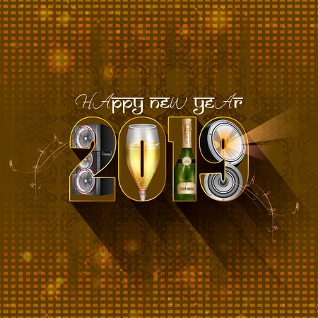 easy to edit vector illustration of Happy New Year 2019 wishes seasonal greeting background Ilustracja