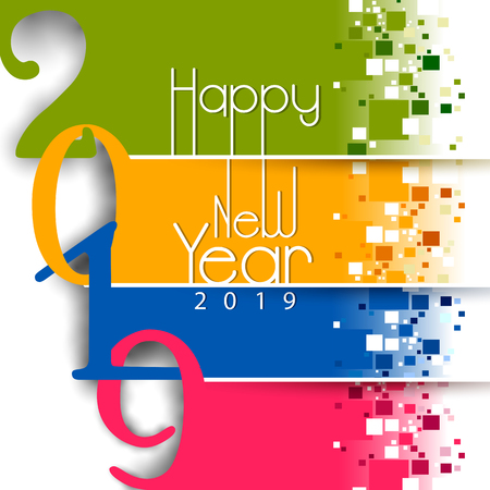 easy to edit vector illustration of Happy New Year 2019 wishes seasonal greeting background  イラスト・ベクター素材