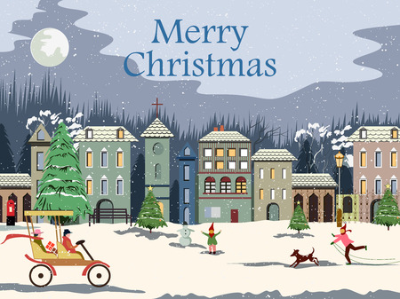 Snowy landscape wintertime background for Merry Christmas Holiday Illustration