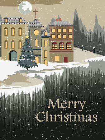 Snowy landscape wintertime background for Merry Christmas Holiday