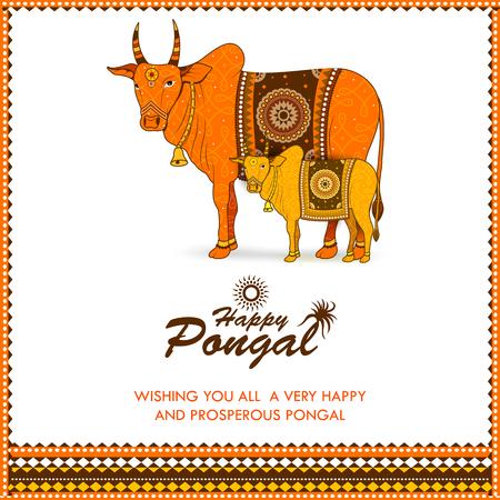Joyeux festival Pongal du Tamil Nadu Inde fond Vecteurs