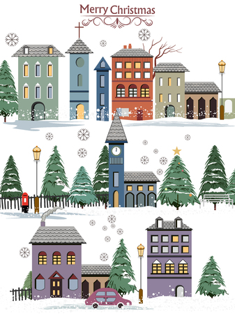 easy to edit vector illustration of snowy landscape wintertime background for Merry Christmas Holiday