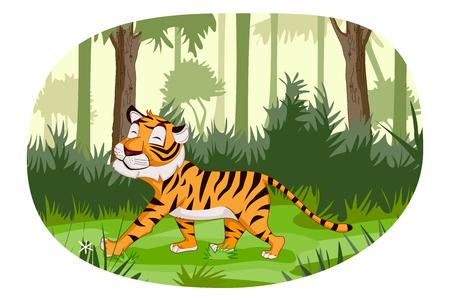 Wild animal Tiger in jungle forest background Ilustração