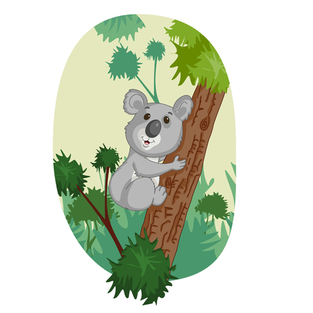 Wild animal Koala in jungle forest background in vector Çizim