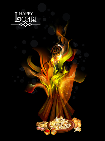Happy Lohri festival of Punjab India background Illustration