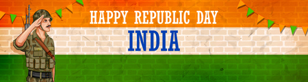 Indian Army soilder nation hero on Pride background for Happy Republic Day of India Vettoriali