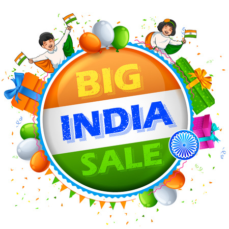 26th January Happy Republic Day of India sale banner with Indian flag tricolor Illustration