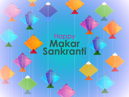 Happy Makar Sankranti background with colorful kite