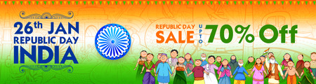 People of different religion showing Unity in Diversity on Happy Republic Day of India Sale Promotion Background