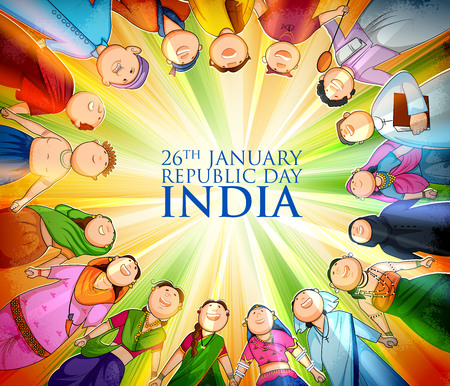 People of different religion showing Unity in Diversity on Happy Republic Day of India Çizim