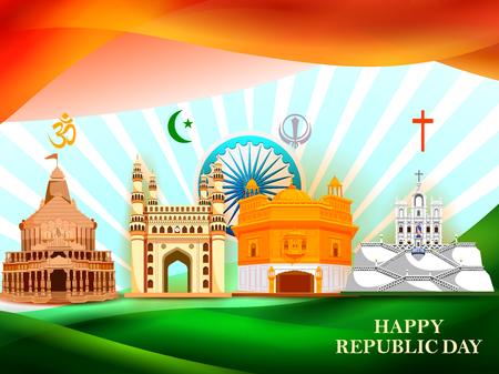 Happy Republic Day of India tricolor background for 26 January Stock Vector - 117399328