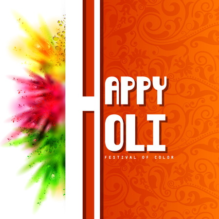 vector illustration of Colorful Happy Hoil background for festival of colors in India Illustration