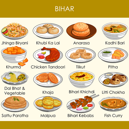 easy to edit vector illustration of delicious traditional food of Bihar India Illustration