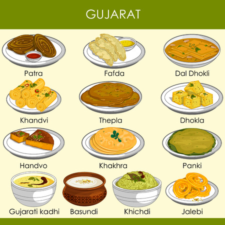 easy to edit vector illustration of delicious traditional food of Gujarat India Illustration