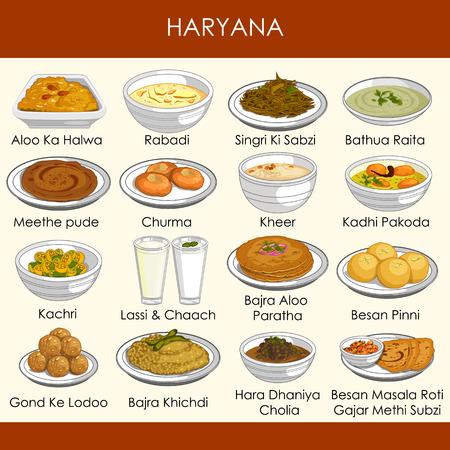 illustration de la délicieuse cuisine traditionnelle de l'Haryana en Inde