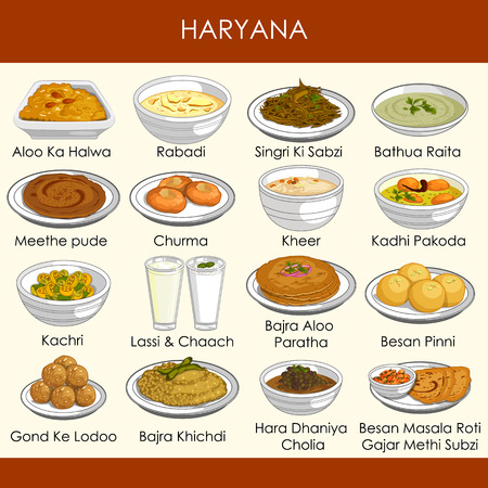 illustration of delicious traditional food of Haryana India