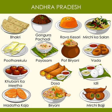 ilustracja pysznego tradycyjnego jedzenia z Andhra Pradesh w Indiach Ilustracje wektorowe