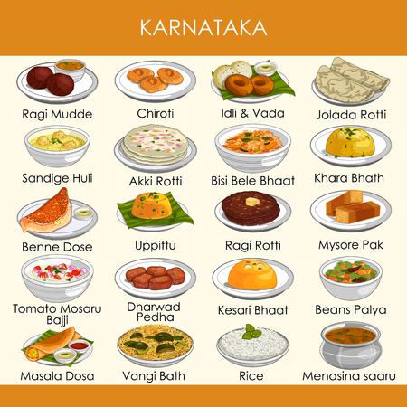 illustrazione del delizioso cibo tradizionale del Karnataka India