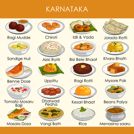 Ilustración de la deliciosa comida tradicional de Karnataka, India