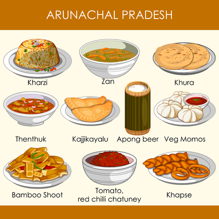 easy to edit vector illustration of delicious traditional food of Arunachal Pradesh India  イラスト・ベクター素材